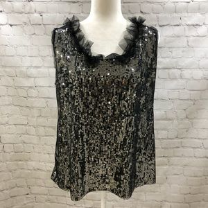 Tahari Black Sequin Sleeveless Top Tulle Neck Sz L